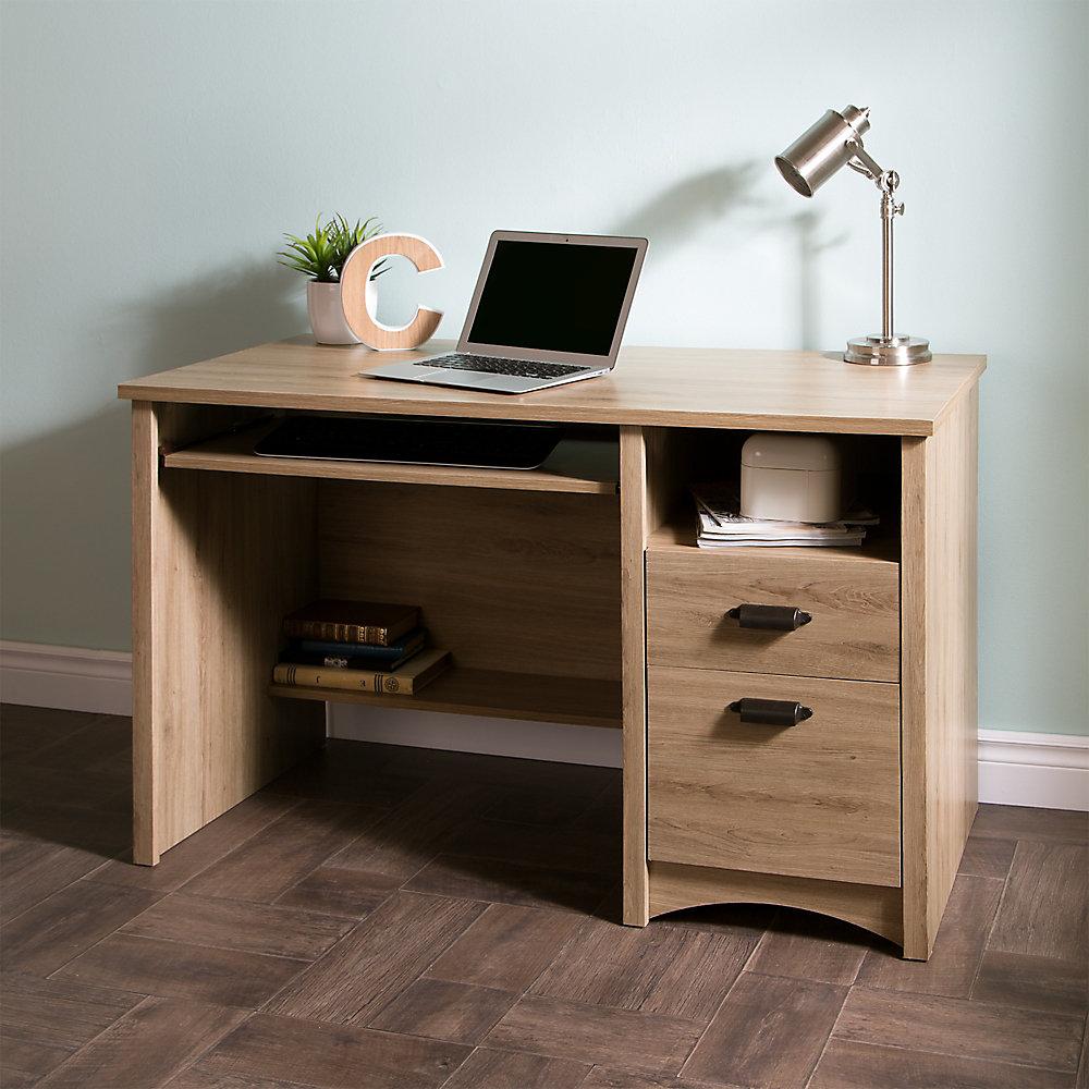 Gascony Computer Desk With Keyboard Tray Rustic Oak