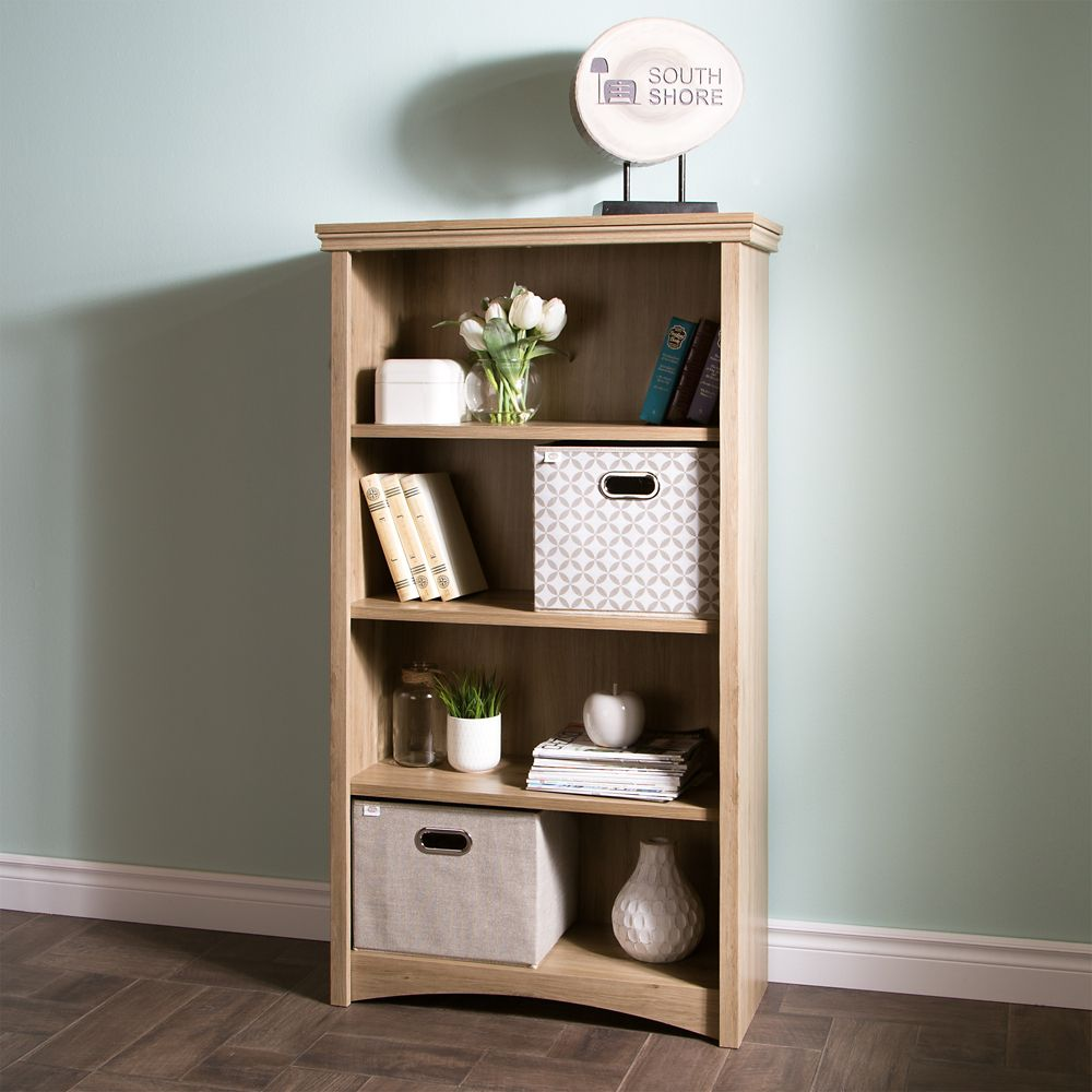 South Shore Gascony 4-Shelf Bookcase, Rustic Oak