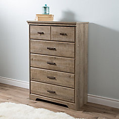Versa 5-Drawer Chest in Weathered Oak