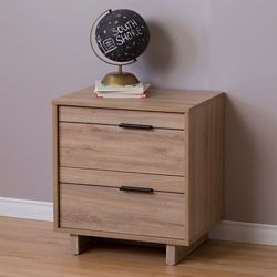 South Shore Fynn 2-Drawer Nightstand, Rustic Oak