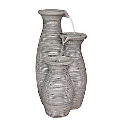 Hampton Bay Outdoor Polyresin Fountain (Water Feature) For Outdoor Decoration 3-Vase Fountain