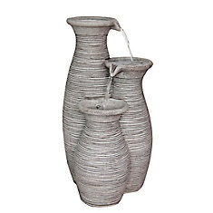 Outdoor Polyresin Fountain (Water Feature) For Outdoor Decoration 3-Vase Fountain
