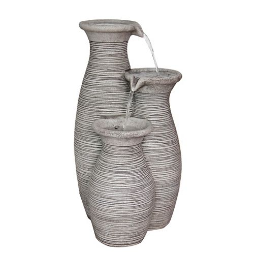 Hampton Bay Outdoor Polyresin Fountain (Water Feature) For Outdoor Decoration 3-Vase Fountain