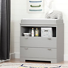 Reevo Changing Table with Storage, Soft Gray