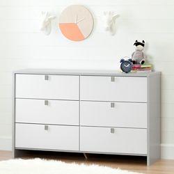 South Shore Bureau double 6 tiroirs Cookie, Gris clair et blanc solide