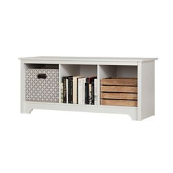 South Shore Vito 3-Cubby Storage Bench in Pure White