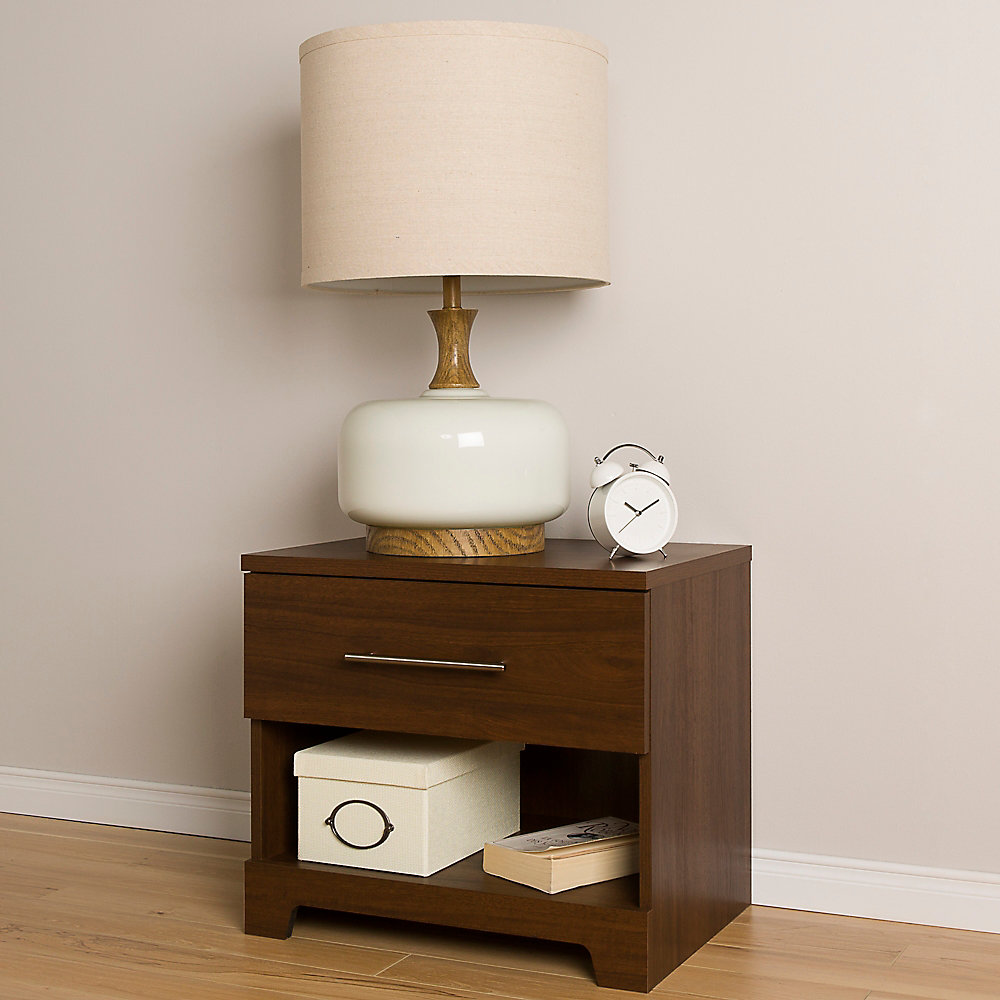 Primo 1-Drawer Nightstand, Brown Walnut