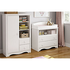 Angel Changing Table and Armoire with Drawers, Pure White