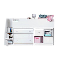 Mobby Twin Loft Bed With Chest And Storage Unit Pure White