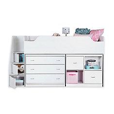 Lit mezzanine simple avec commode et unité de rangement Mobby, Blanc solide