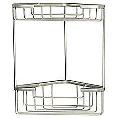 Wiretone Double Shelf Corner Utility Basket in Chrome