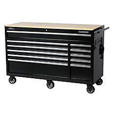 60 inch 11-Drawer Mobile Workbench with Solid Wood Top