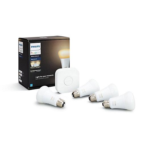 Hue Ambiance A19 Multi-Colour LED Smart Light Bulb Starter Kit (4-Pack)