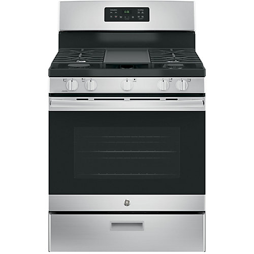 30-inch 5.0 cu. ft. Single Oven Gas Range with Steam Clean Oven in Stainless Steel