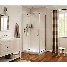 Davana 34-inch x 42-inch x 75-inch Rectangular Frameless Shower Enclosure Kit with Chrome Trim