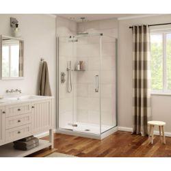 MAAX Porte de douche sans cadre rectangulaire Davana fini chrome 34 po x 42 po x 75 po