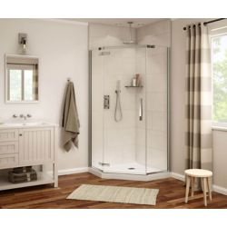 MAAX Davana Neo-Angle 40 inch x 40 inch x 75.75 inch Frameless Shower Door in Chrome