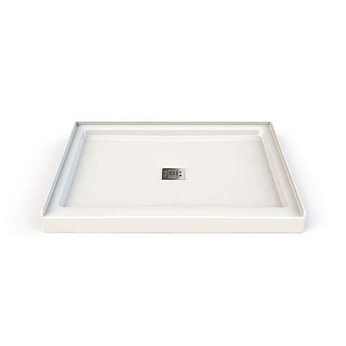 34-inch x 42-inch x 3-inch Rectangular Shower Base with Centre Square Drain in White
