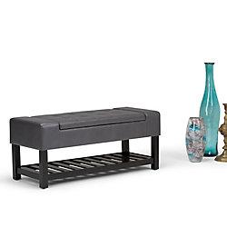 Simpli Home Finley Storage Ottoman Bench in Grey