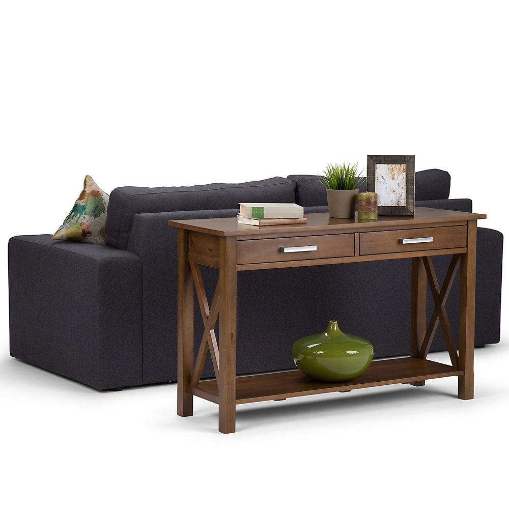 Simpli Home Kitchener Console Sofa Table in Saddle Brown | The Home ...