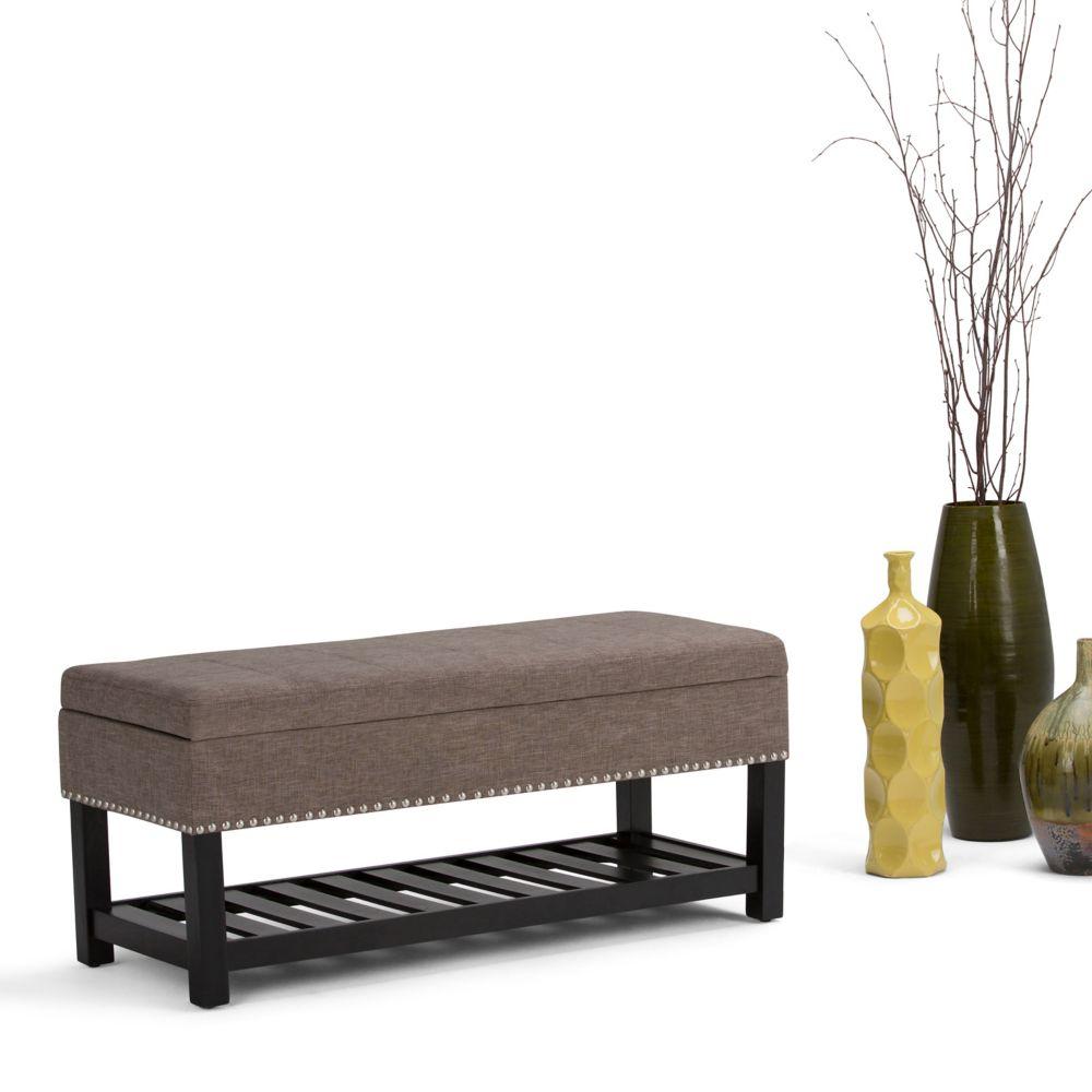 Simpli Home Radley Storage Ottoman Bench in Light Brown