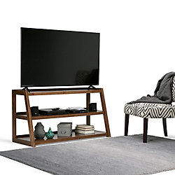Simpli Home Sawhorse TV Media Stand in Brown