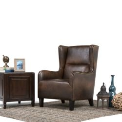 Simpli Home Taylor Brown Leather Wingback Accent Chair