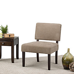 Simpli Home Virginia Accent Chair in Brown