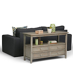 Warm Shaker Console Sofa Table in Distressed Grey