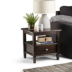 Warm Shaker 20-inch x 18-inch x 19.6-inch Single-Drawer End Table in Tobacco Brown