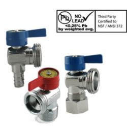 Boshart Canada Washing Machine Valve Pack - ½ Inch PEX Inlet x ¾ Inch Outlet Plus Red and Blue Handles (2 valves)