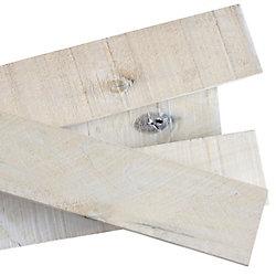 THD Planche en bois massif style bois de grange blanc délavé 1/2 po x 4 po x 4 pi (8 pièces)