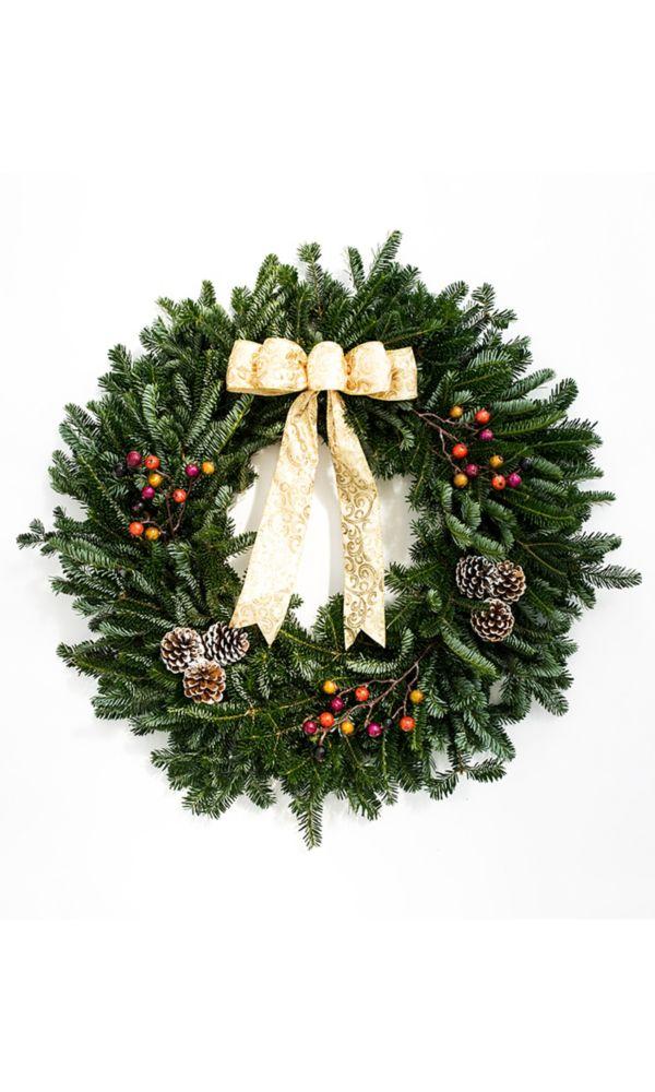 """Brookdale Treeland Nurseries Decorated Holiday Wreath 28"""" - Gold"""