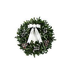 """Brookdale Treeland Nurseries Decorated Holiday Wreath 28"""" - Silver"""
