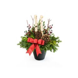 Brookdale Treeland Nurseries Large Birch Outdoor Arrangement with Red Bow and Berries