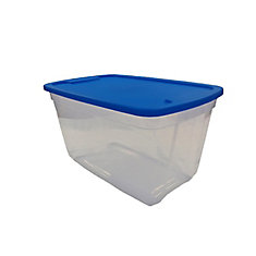 Tote Clear Base Blue Lid, 76L