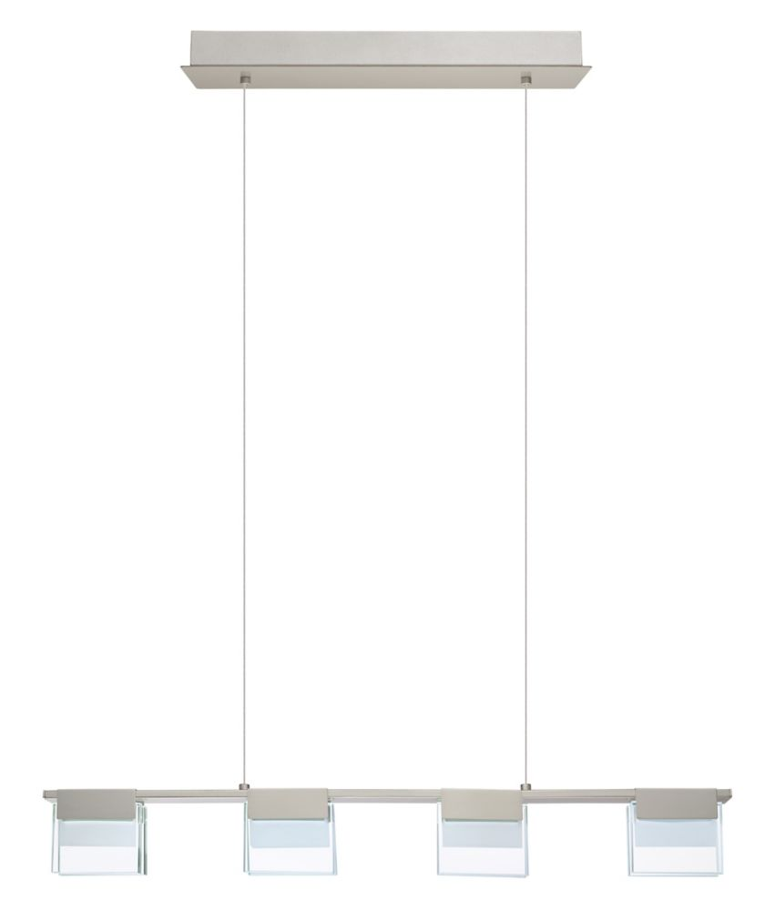 Eglo Vicino LED Pendant Light, Matte Nickel Finish with Clear & Frosted Glass