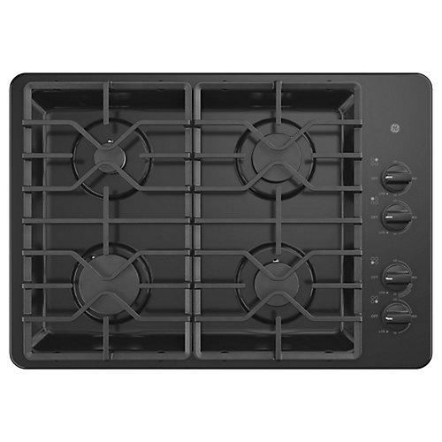 Table de cuisson au gaz 30 po W à 4 brûleurs, y compris les brûleurs électriques en noir