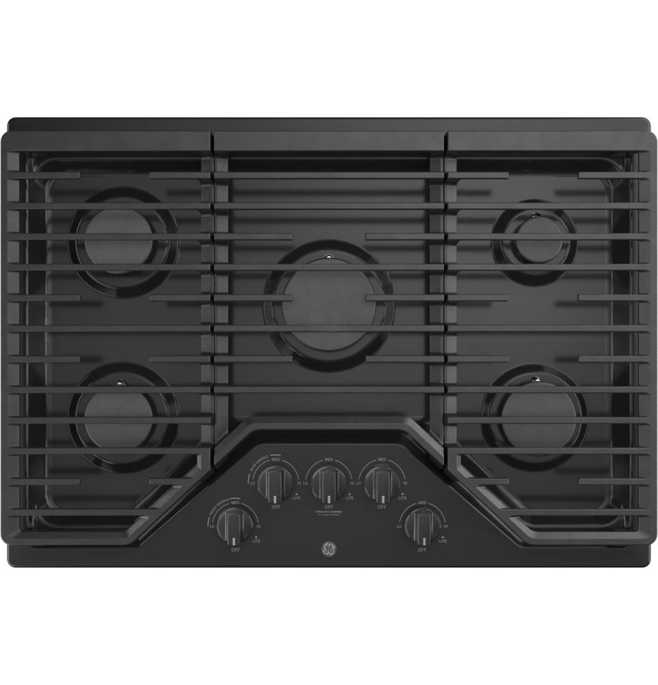 GE 30 Built-In Gas Deep Recessed Edge-to-Edge Black Cooktop