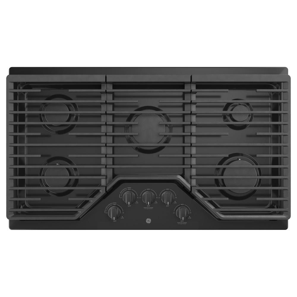 GE 36 Built-In Gas Deep Recessed Edge-to-Edge Black Cooktop