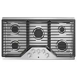 36-inch Built-In Gas Cooktop with 5 Burners Including Power Boil Burner in Stainless Steel