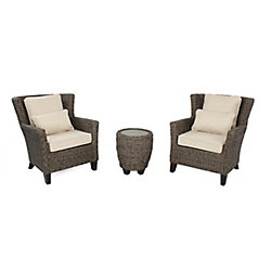 Megan Brown Seagrass Wicker 3-Piece Chat Set with Beige Cushion