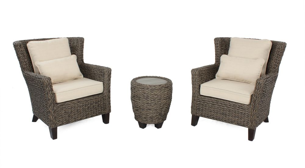 Hampton Bay Megan Brown Seagrass Wicker 3 PC Chat Set