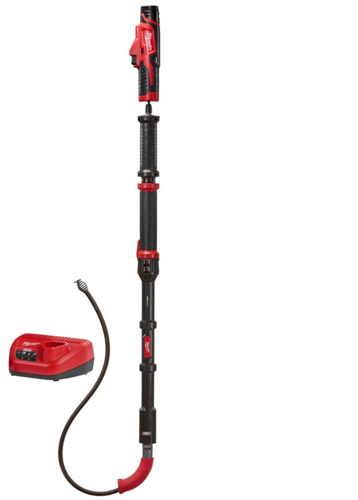 Milwaukee Tool M12 Trap Snake 12V Lithium-Ion Cordless 6-Foot Toilet Auger Drain Cleaning Kit