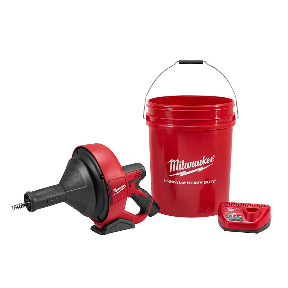 Milwaukee Tool M12 12V Lithium-Ion Cordless Auger Snake Drain Cleaning Kit W/ (1) 1.5Ah Battery
