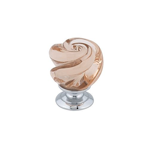 Richelieu 1 3/16-inch (30 mm) Chrome, Pink Traditional Cabinet Knob