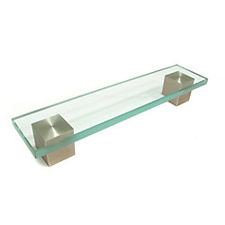 Richelieu Contemporary Crystal & Glass and Metal Pull - Clear and Brushed Nickel - 160 mm C. To C.