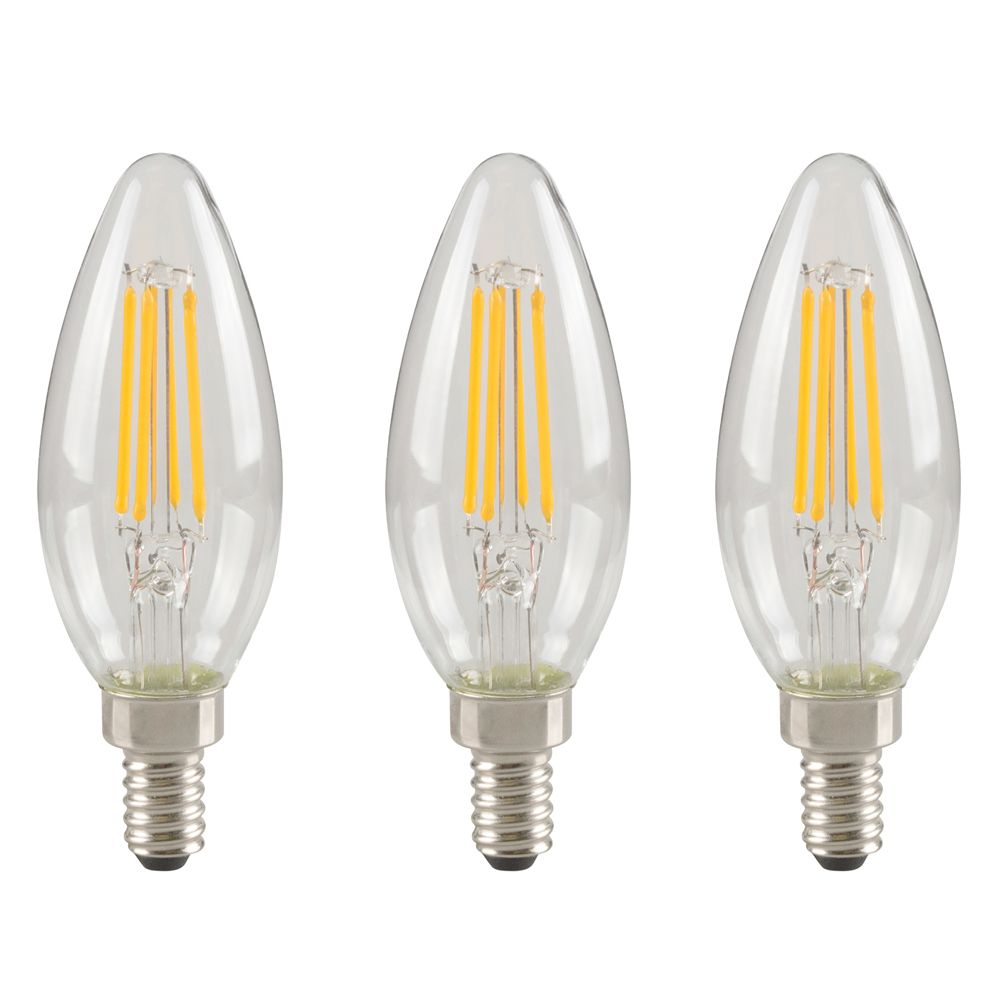 Ecosmart 40W Equivalent Bright White (3000K) B10 Dimmable LED Light Bulb (3-Pack)