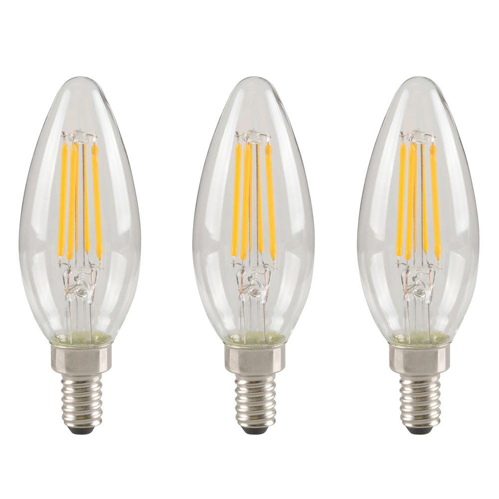 Ecosmart 40W Equivalent Bright White (3000K) B10 Dimmable LED Light Bulb (3-Pack)
