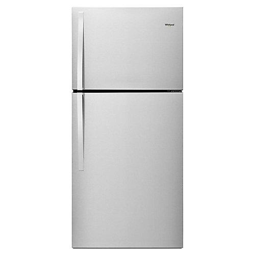 Réfrigérateur supérieur de 30 po W 19 pi. cu. en acier métallique résistant aux empreintes digitales.